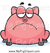 Swine Clipart of a Depressed Pig by Cory Thoman