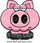 Swine Clipart of a Depressed Pink Pig by Cory Thoman