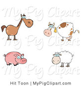 Swine Clipart of a Digital Barnyard Collage of a Farm Horse, Cow, Pig and Sheep by Hit Toon