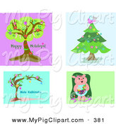 May 5th, 2013: Swine Clipart of a Digital Collage of 4 Happy Holidays Tree, Christmas Tree, Mele Kalikimaka and Pig by Bpearth