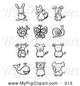Swine Clipart of a Digital Collage of Black and White Animals and Bugs on White by NL Shop