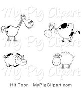 Swine Clipart of a Digital Farm Collage of a Black and White Horse, Cow, Pig and Sheep by Hit Toon