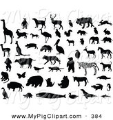 Swine Clipart of a Digital Group of Silhouetted and Black and White Animals by Leonid