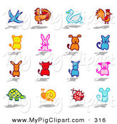 Swine Clipart of a Digital Set of a Bird, Turkey, Swan, Rooster, Ram, Bunny, Dog, Cat, Donkey, Bull, Horse, Pig, Turtle, Snail, Ladybug and Mouse by NL Shop