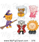 Swine Clipart of a Digital Set of a Cat, Monkey, Pig, Tasmanian Devil and Lion in Halloween Costumes on White by BNP Design Studio