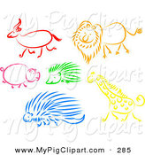 Swine Clipart of a Digital Set of an Antelope, Lion, Pig, Hedgehog, Porcupine and Giraffe by Prawny