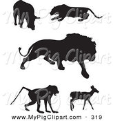 Swine Clipart of a Digital Set of Animal Silhouettes; Boar, Panther, Lion, Baboon and Deer by JR