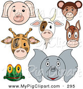 Swine Clipart of a Digital Set of Baby Animal Faces; Pig, Goat, Monkey, Giraffe, Horse, Frog and Elephant by Dero