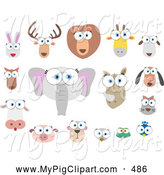 Swine Clipart of a Digital Set of Big Eyed Animal Faces by Qiun