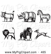 Swine Clipart of a Digital Set of Carved Styled Black and White Safari Boar, Rhino, Zebra, Lion, Gorilla and Antelope by Xunantunich