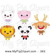 Swine Clipart of a Digital Set of Cute Animals with Big Heads by Pushkin