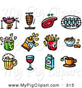Swine Clipart of a Digital Set of Food; Roasting Pig, Ham, Steak, Fish, Popcorn, Chips, Fries, Peanuts, Beer, Wine, Milk and Tea by NL Shop