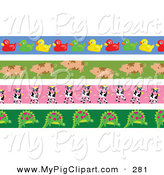 Swine Clipart of a Digital Set of Rubber Ducky, Pig, Cow and Dinosaur Borders by Prawny