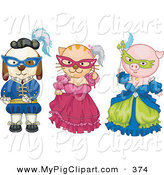 Swine Clipart of a Dog, Cat and Pig Dressed in Historical Costumes on White by BNP Design Studio