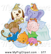 Swine Clipart of a Dog, Elephant, Monkey, Pig and Cat Having Fun at a Slumber Party on White by BNP Design Studio
