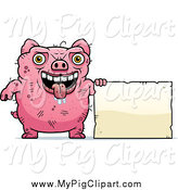 Swine Clipart of a Drooling Ugly Pig with a Sign by Cory Thoman