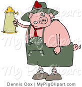 Swine Clipart of a Drunk Fat Pig Drinking a Beer from a Setin at Oktoberfest by Djart