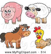 Swine Clipart of a Farm Animal Group; Cute Sheep, Pig, Horse and Chicken by Visekart