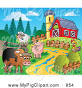 Swine Clipart of a Farm Animal Scene with a Red Barn and Silo by Visekart