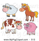Swine Clipart of a Farm Animal Sheep, Horse, Cow and Pig by Visekart