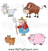 Swine Clipart of a Farmer Man and Livestock Animals by Hit Toon
