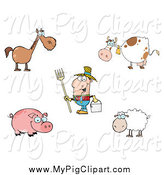 Swine Clipart of a Farmer Man and Livestock by Hit Toon