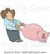 Swine Clipart of a Farmer Man Pulling a Fat Swine by the Hind Legs by Djart