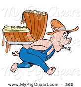 Swine Clipart of a Farmer Pig Carrying Bbq Ribs on His Back by LaffToon
