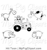 Swine Clipart of a Farming Digital Collage of an Outlined Farmer on a Tractor, with a Horse, Cow, Pig and Sheep by Hit Toon