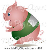 Swine Clipart of a Fat Chubby Pig Running in a Race by BNP Design Studio