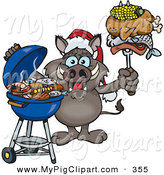 Swine Clipart of a Festive Grilling Boar Wearing a Santa Hat and Holding Food on a BBQ Fork by Dennis Holmes Designs