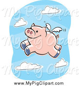 Swine Clipart of a Flying Pig in a Sky by Cory Thoman