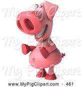 Swine Clipart of a Friendly 3d Pig Character Facing Left and Giggling by Julos