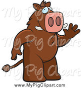 January 27th, 2014: Swine Clipart of a Friendly Boar Waving by Cory Thoman