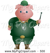 Swine Clipart of a Friendly Cute Pig Soldier by BNP Design Studio