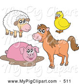Swine Clipart of a Friendly Cute Sheep, Chick, Muddy Pig and Horse by Visekart