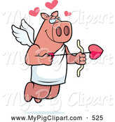 Swine Clipart of a Friendly Flying Pig Cupid with Hearts and an Arrow by Cory Thoman