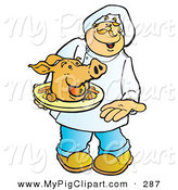 Swine Clipart of a Friendly Male Cook Carrying a Pigs Head on a Platter by Snowy