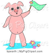 Swine Clipart of a Friendly Pink Piglet Waving a Green Flag and Standing in Flowers by Bpearth