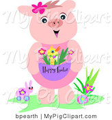 Swine Clipart of a Friendly Pink Piglet with Toys, Standing by an Easter Egg and Holding a Chick in an Easter Basket by Bpearth