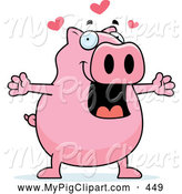 Swine Clipart of a Friendly Plump Pink Pig in Love by Cory Thoman