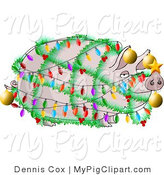 Swine Clipart of a Funny Pig Wrapped up in Christmas Lights and Ornaments - Xmas Ham Concept by Djart