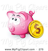 Swine Clipart of a Gold Dollar Coin Resting Against a Pink Piggy Bank by Beboy