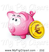 Swine Clipart of a Gold Euro Coin Resting Against a Pink Piggy Bank on White by Beboy