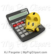 Swine Clipart of a Gold Piggy Bank Atop a Calculator by KJ Pargeter