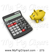 Swine Clipart of a Gold Piggy Bank Facing a Giant Calculator by KJ Pargeter