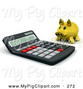 Swine Clipart of a Gold Piggy Bank Looking at a Giant Calculator by KJ Pargeter