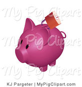 Swine Clipart of a Golden Locked Padlock on the Slot of a Dark Pink Piggy Bank by KJ Pargeter