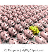 Swine Clipart of a Golden Piggy Bank Standing out from a Crowd of Pink Banks Standing in Rows by KJ Pargeter