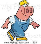 Swine Clipart of a Goofy Big Pink Builder Pig Walking by Cory Thoman